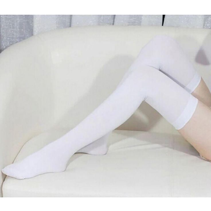 Vallen Vrouwen Fluwelen Over De Knie Sokken Kousen Zwart Wit Dij Hoge Sokken Voor Dames Meisjes Sexy Kous