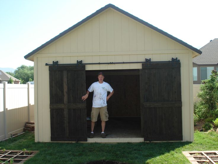 Shed with our double sliding doors for exterior use you for Exterior sliding barn door hardware