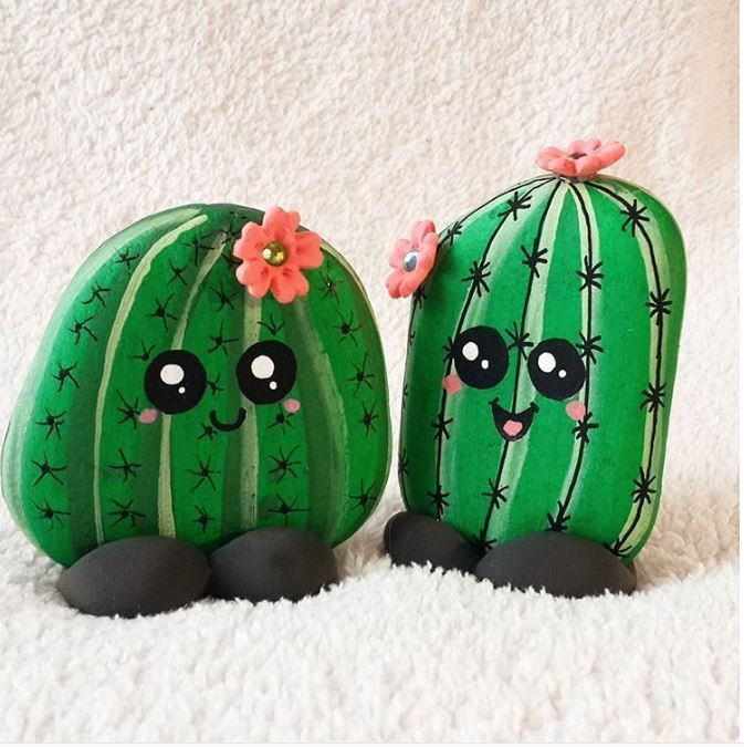 Happy cactus rock painting idea. There are more than 50 inspiring DIY painters.