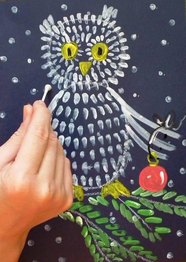 Зимние рисунки ватными палочками - дюжина подсказок для фантазии