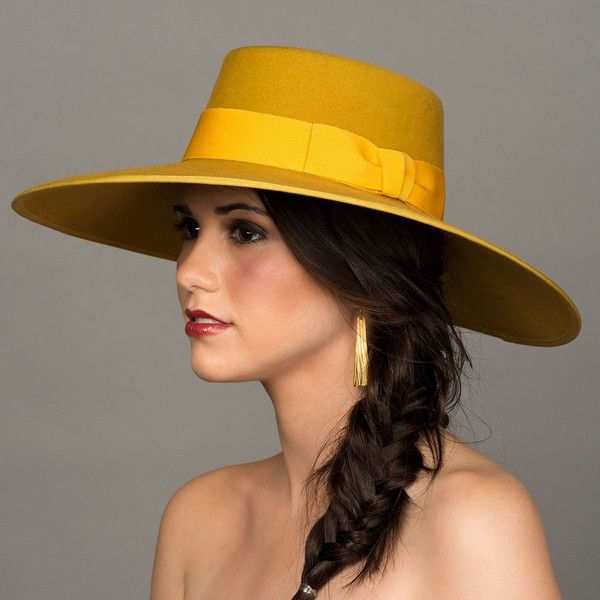 "Mustard Yellow Hat. Bolero Hat. 5"" Wide Brim Felt Hat. Gold Gaucho... ($365) ❤ liked on Polyvore featuring accessories, hats, felt hat, mustard hat, wide brim hat, fur hat and flat brim hats"