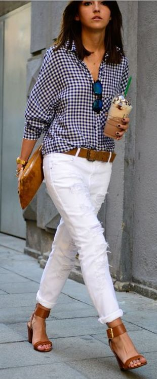 Street Style Look from Madrid Business Lady White Denim and Gingham Outfit.