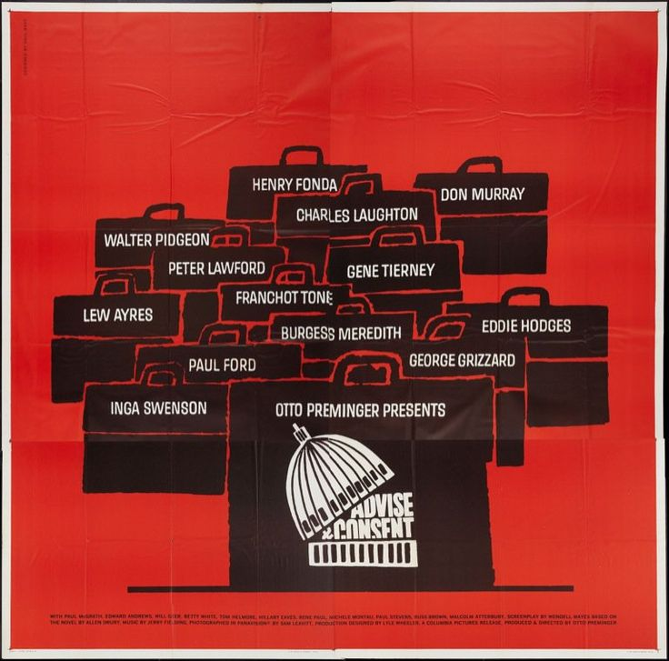 "via #IVPDA member Movie Art ""U.S. SIX SHEET POSTER with art by Saul Bass for the Otto Preminger film ADVISE AND CONSENT. https://www.movieart.com/advise-and-consent-1962-7565/"" #VintagePosters #MoviePosters"