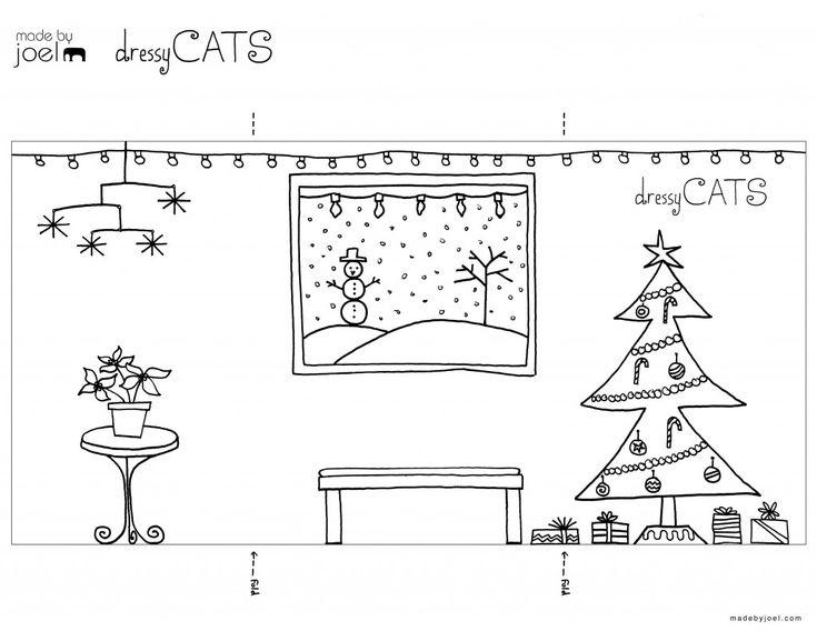 09 Made By Joel Dressy Cats Christmas Holiday Printout Coloring Sheet
