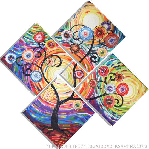 150 euro Rainbow Large painting 48x48 World Tree of Life Modern Acrylic landscape Original wall art on canvas impasto
