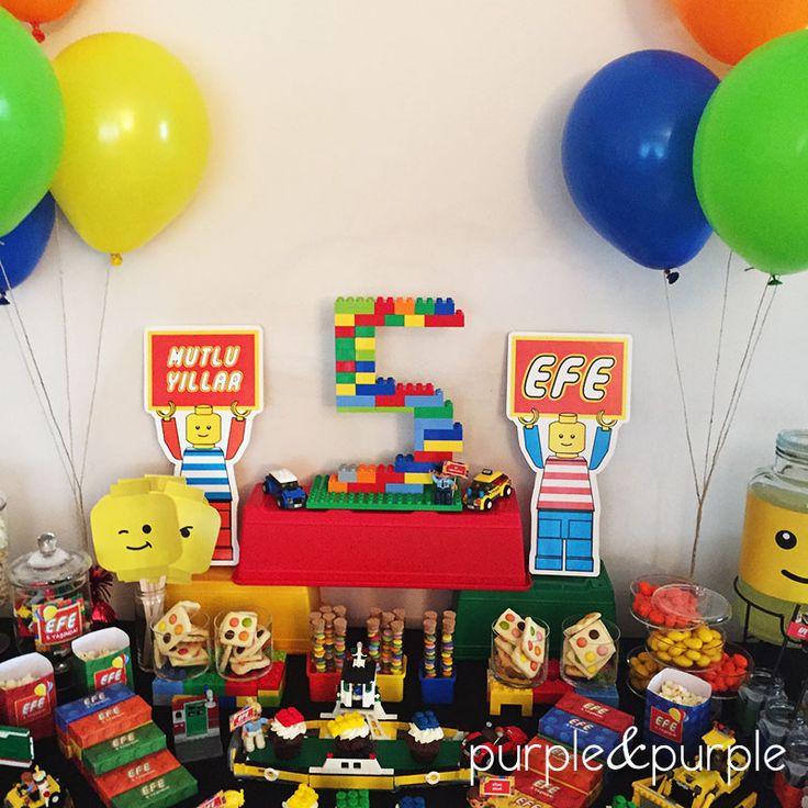 5 yas dogum gunu lego   Lego Temalı Şeker Büfesi   Lego temalı parti masası   5 yaş doğum günü partisi   Lego temalı parti süsleri