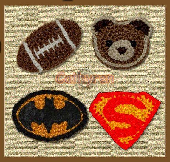 Instant Download Crochet Pattern- Hello Kitty, Teddy Bear, Batman and Superman Logos (PDF74)