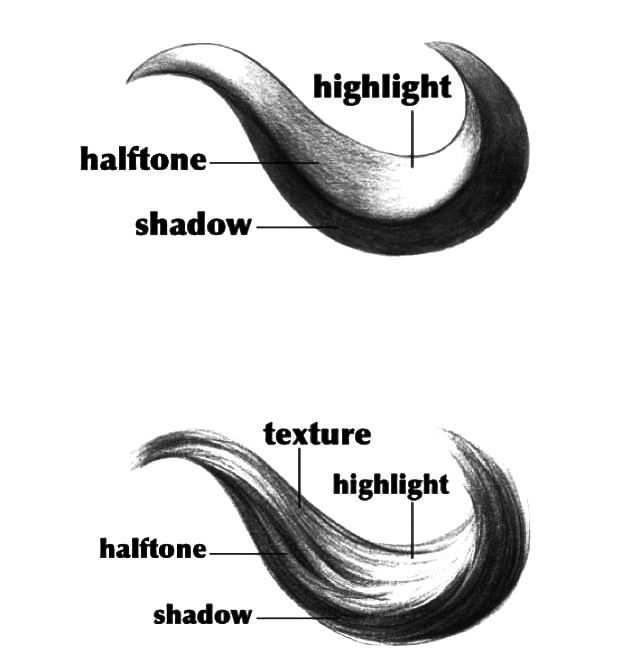 How to shade hair. -- Drawing tools, inspiration, tutorial, anime, manga, realistic, hair curls, strands