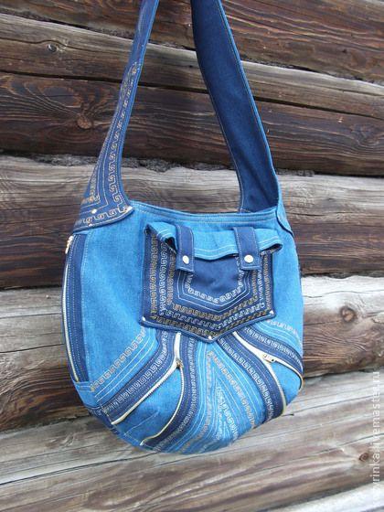 """Сумка-хобо""""Восток-Запад"""" - тёмно-синий,орнамент,джинсовая сумка,джинсовый стиль"""