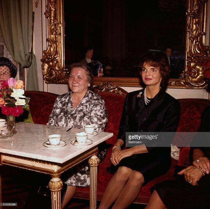Vienna, Austria. Mrs. Kennedy Mrs. Khrushchev during Luncheon at Palais Pallavicinni.