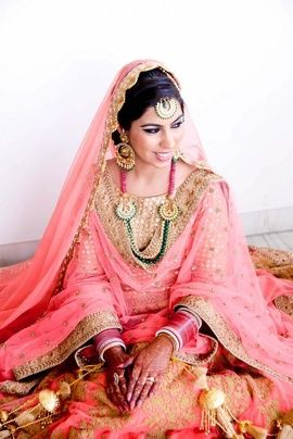 Sikh Wedding Brides | WedMeGood Gorgeous Sikh Bride Wearing Peach Pink Lehenga with Gold Work. Mix it up with some Green Jewellery! #wedmegood #brides