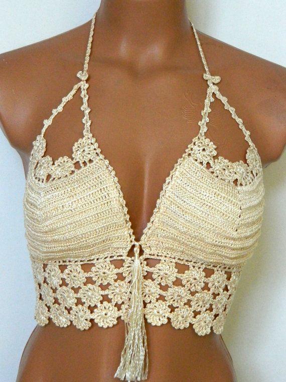 less chrochet tops | 100% Cotton White Crochet Festival Halter Top,Cream bra top strappless ...