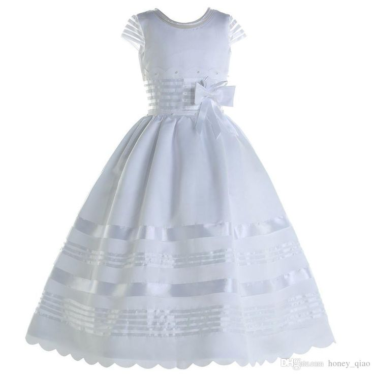 The discount flower girl dress which match the flowers-2016 white girls flower dress crew short sleeve beading flower satin first communion dresses ball gown kids evening gowns is offered in honey_qiao and on DHgate.com dog flower girl dress along with dresses flower girl are on sale, too.