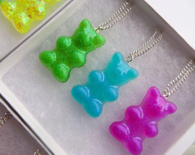 Pic 'n' Mix Set Of Three Candy Gummybears Sweets Charm Pendant Necklace Festival Glitter Cute