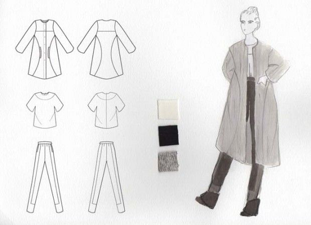 Fashion Sketchbook - fashion design drawings & swatches; fashion portfolio // Erica Trinder-Torre