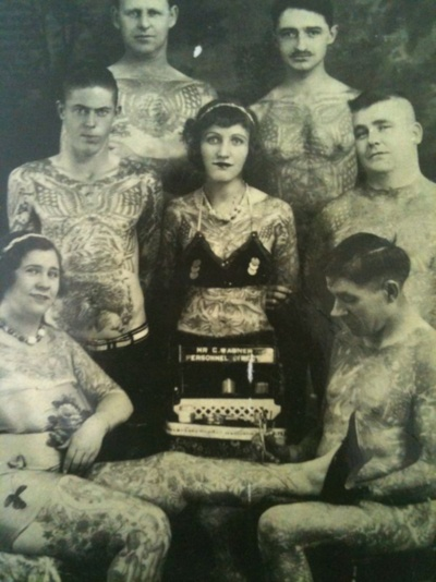 Old Vintage Picture of Tattooed People