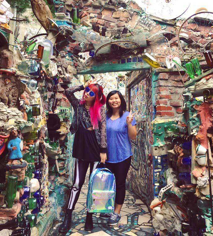 tickets hours passes magic gardens philly, philadelphia magic garden fashion bloggers, folk art isaiah zagar, entrance access ticket prices. More on La Carmina website http://www.lacarmina.com/blog/2017/09/philly-magic-gardens-busbud-book-bus-tickets/
