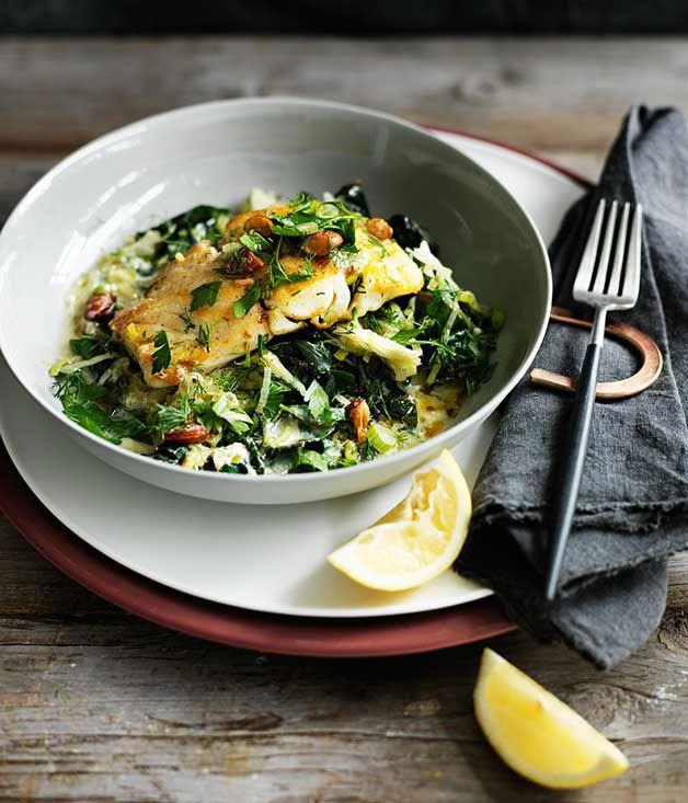 Gourmet Traveller recipe for Pan-fried trevalla with avgolemono silverbeet, Autumn, Mediterranean, Lunch, Dinner, Main