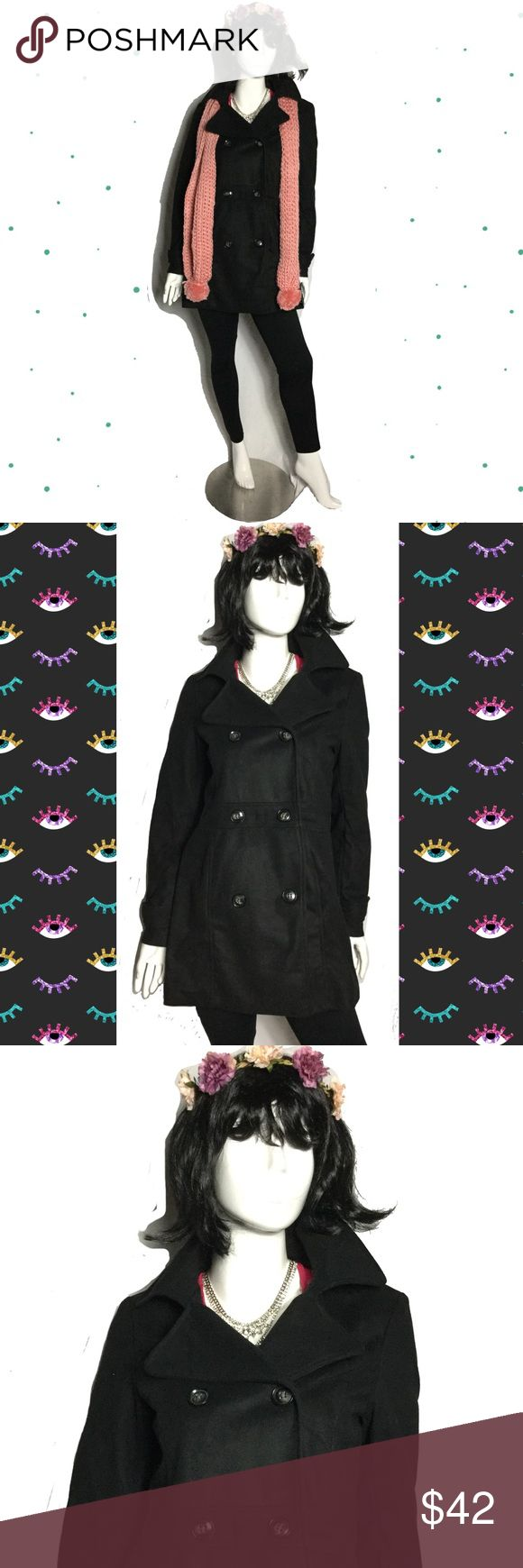 "Black Pea Coat sz XL nwot Black peacoat sz XL nwot Brand: Shop The Trend, a boutique brand. Brand new item, didn't come with tag. Polyester with polyester shell. Armpit to armpit 20"", length 32. Upper arm 15"". Has side pockets. C.O.C Jackets & Coats Pea Coats"