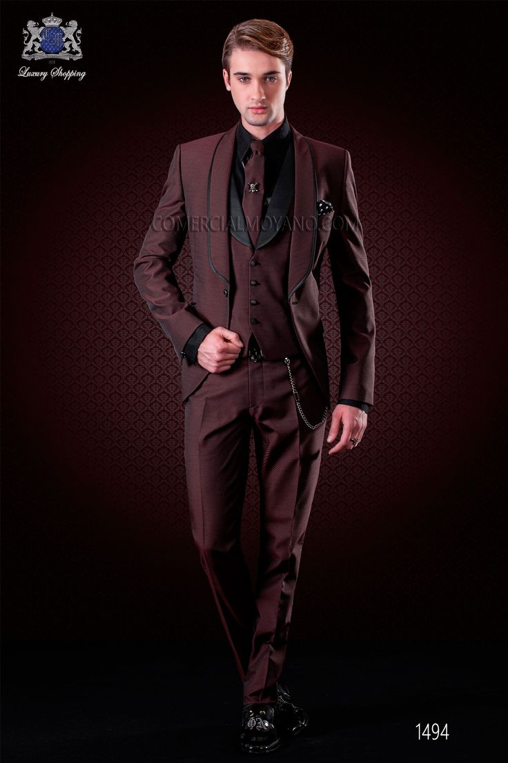 italienisch purpurrot br utigam anzug mit weste ottavio nuccio gala anz ge. Black Bedroom Furniture Sets. Home Design Ideas