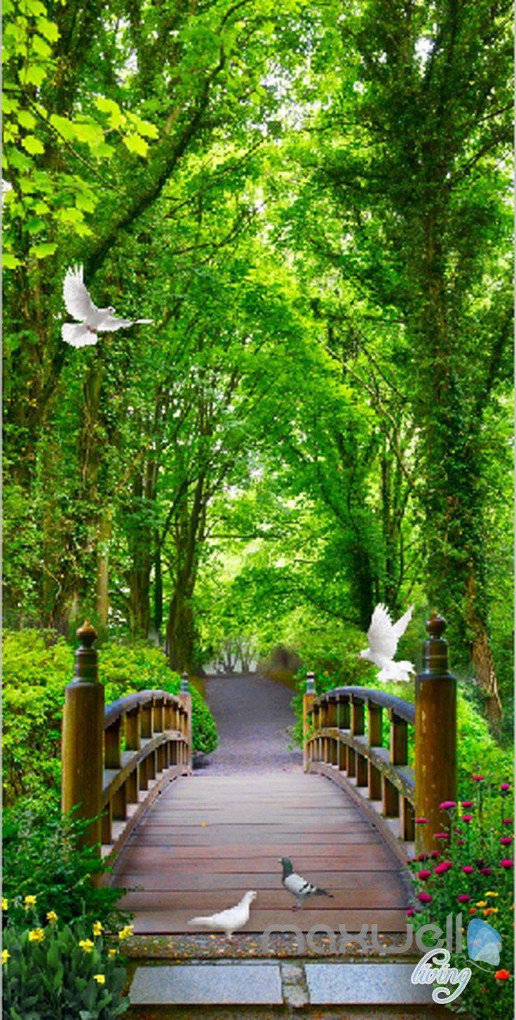 3d Forest Bridge Bird Corridor Entrance Wall Mural Decals