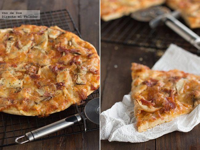 Pizza crujiente de setas de cardo y jamón. Receta paso a paso