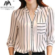 2015 Hot Sell Long-sleeve Shirt Korean Style Women Tops Striped Large Size Chiffon Blouse V-neck  Fashion Women Clothing BMC900(China (Mainland))