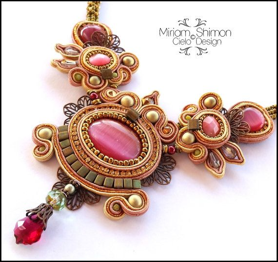 Raspberry Olive and Bronze Soutache necklace by MiriamShimon