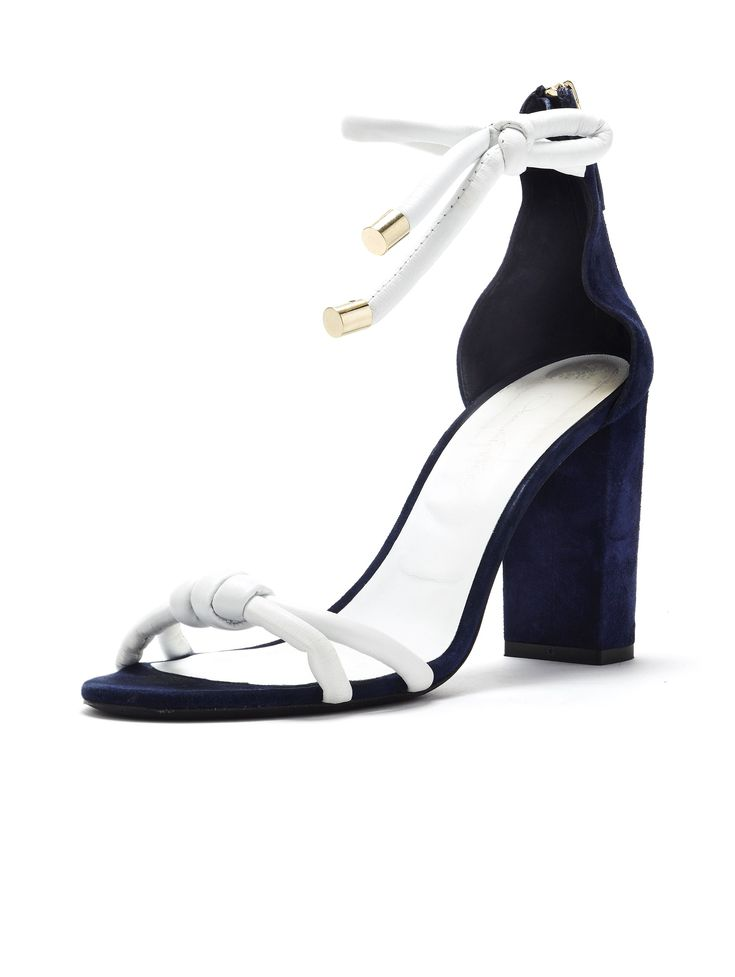 "Oscar de la Renta | 2018 | ""Freya"" marine-blue-suede-and-white-leather open-toe ankle-wrap/tie back-zipper high-block-heeled sandal featuring tubular straps"