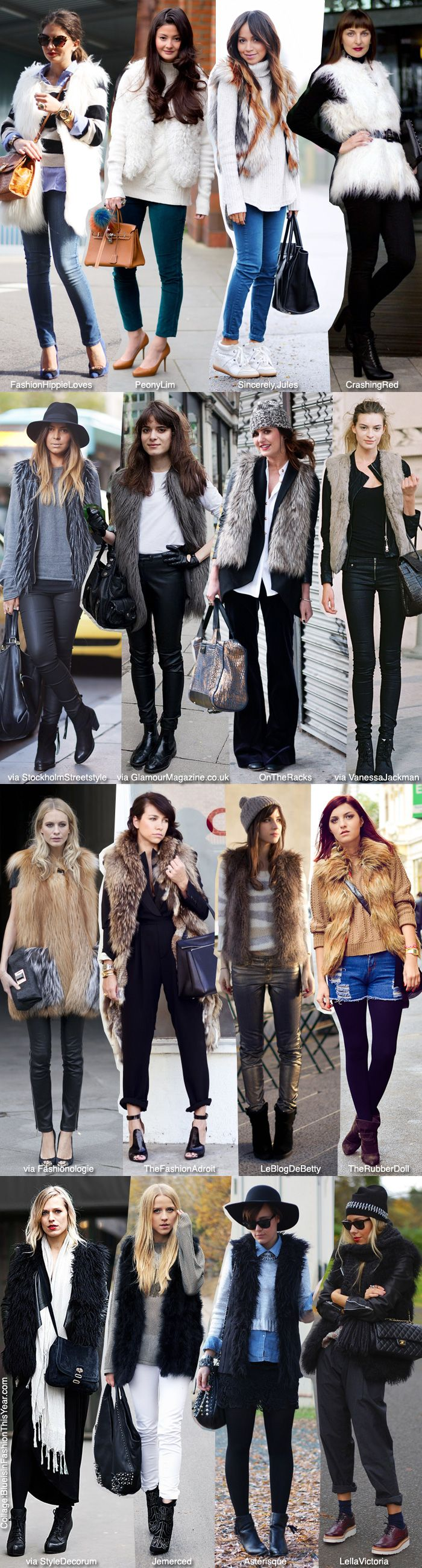 Blue is in Fashion this Year: How To Wear: Fur Vests