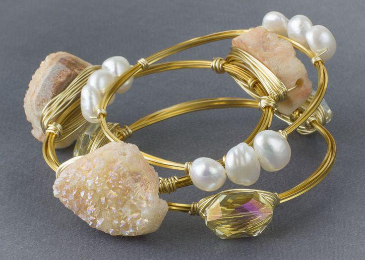 Peach and Gold Gemstone Bangle Bracelets - Cherry Tree Beads