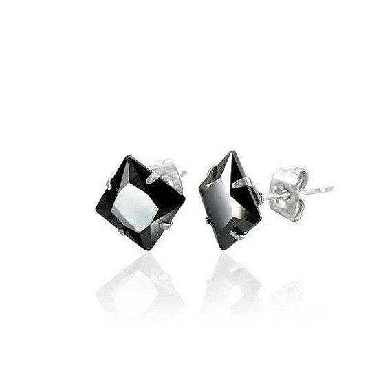Mens Black Square 6mm CZ Stone Set Ear Stud Earrings