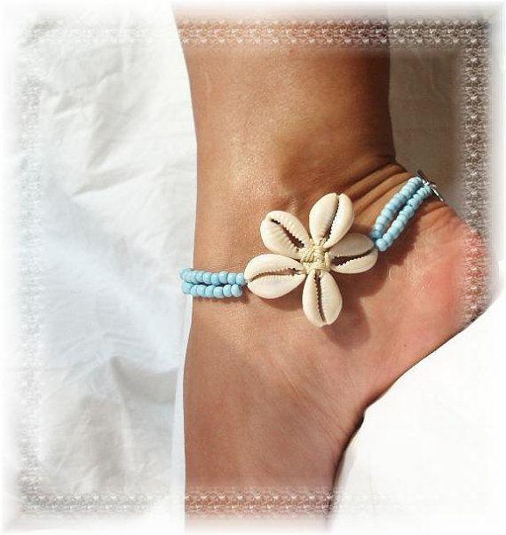 Flower Shells Island Girl Blue Anklet Ankle by AnkletAllure