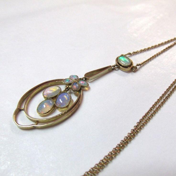 Antique Art Nouveau 9ct Gold Opal Necklace