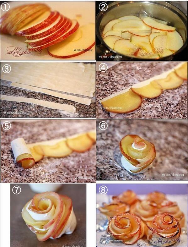 細く切ったパイ生地を使ったバラのアップルパイ