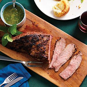 Garlic Rubbed Tri-tip.  This is very delicious...I didn't marinate the steak as long...probably would have had more flavor.  The Mint Caper Salsa would also be delicious on lamb steak.  Yum! I like the anchovies...always good to add more Omega 3's where you cannot taste it :).