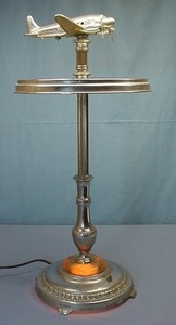 1948 Art Deco Chrome DC 3 Airplane Ashtray Smoking Table
