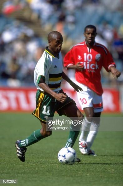 Joel Masilela of South Africa in action against Egypt in the Nelson Mandela Inauguration Challenge friendly in Johannesburg South Africa South Africa...