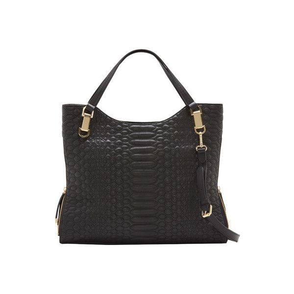 Women's Vince Camuto Riley Tote - Raven Snake Quilted Paillette Purses ($278) ❤ liked on Polyvore featuring bags, handbags, tote bags, black, handbags totes, quilted totes, zippered tote bag, zip tote and hand bags