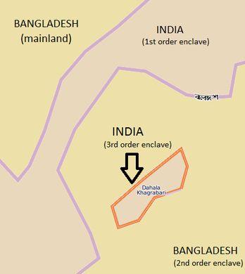 A piece of India inside a piece of Bangladesh inside a piece of India inside a piece of Bangladesh.