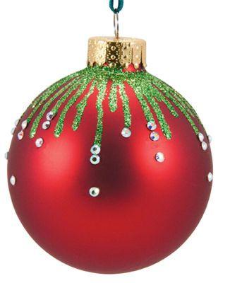 DIY Christmas Ornament. SO easy! Dollar store ornaments, a bottle of glitter glue, and rhinestones.