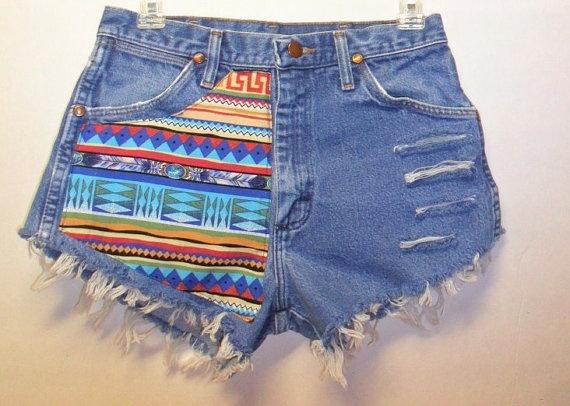 Vintage High Waisted Denim Shorts Front & Back Tribal  Waist  27   Inch