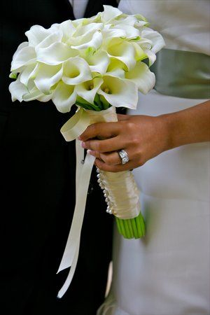 white mini calla lily wedding flower bouquet, bridal bouquet, wedding flowers, add pic source on comment and we will update it. www.myfloweraffair.com can create this beautiful wedding flower look.