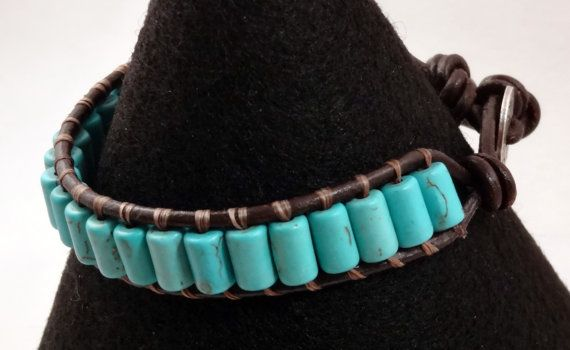 Turquoise Leather Single Wrap Bracelet by BackRockDesigns on Etsy