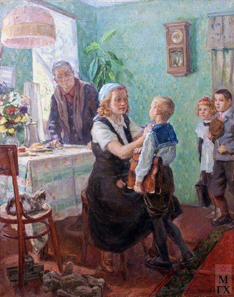 """Коробов Александр Алексеевич. """"Первокласник"""". 1948. Х.М. Переяславский музей-заповедник."""