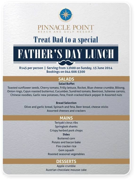 Treat your Dad to a lovely Fathers Day buffet lunch at Pinnacle Point restaurant. Please contact us to make your reservation at R145, 00 per person. #fathersday #cuisine #destination