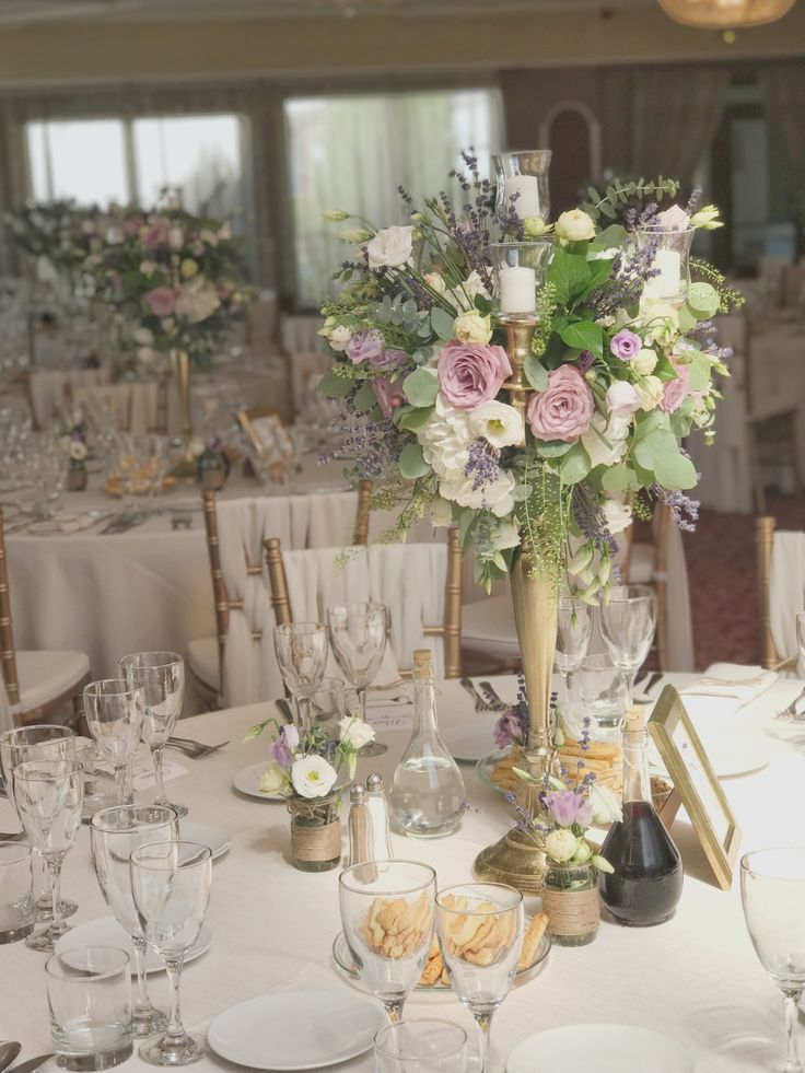 Tall Centerpiece with Lavender on a Golden CandleHolder #atelierdual #atelierdualromania