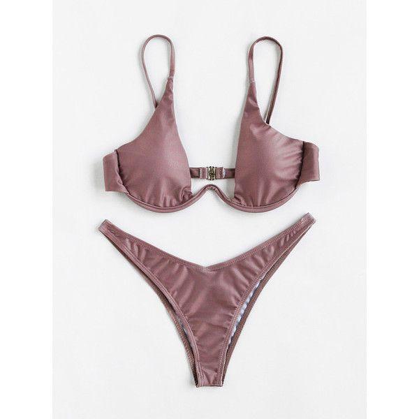 Plunge Neckline High Leg Bikini Set ($19) ❤ liked on Polyvore featuring swimwear, bikinis, brown, bikini swimwear, bikini swim wear, brown bikini and bikini two piece