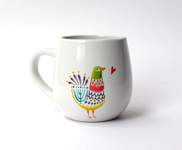Bird round mug |  Ink on porcelain, handmade. www.cayagutierrez.com