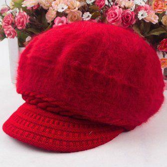 Women Girl Rabbit Fur Knitted Screw Beanie Hat Beret Snapback Winter Soft Cap at Banggood